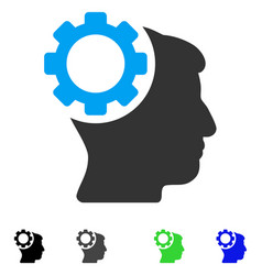 Brain gear flat icon vector