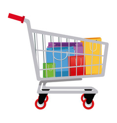 Cart shopping paper bag gift commerce vector