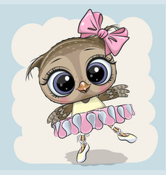 Cartoon owl ballerina on a blue background vector
