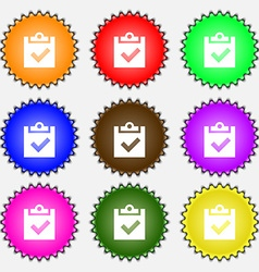 Check mark tik icon sign A set of nine different vector image