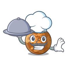 Chef with food plenet mercury shape vector