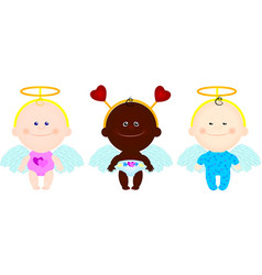 children angels wings hearts vector image