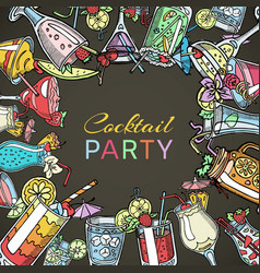 cocktail drinks party summer poster drinking vector image