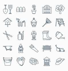 collection of outline gardening icons vector image