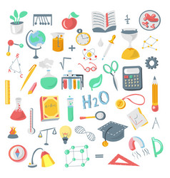 colored funny back to school supplies elements vector image