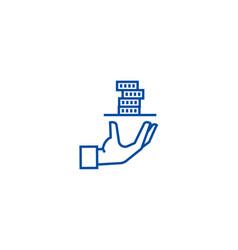 Contributorservice hand with money line icon vector