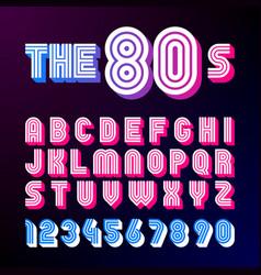 Eighties style retro font 80s font design vector