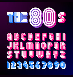 eighties style retro font 80s font design with vector image
