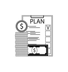 finance plan concept line style vector image