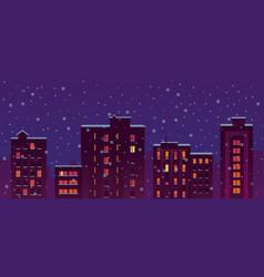 Flat city snow night buildings vector