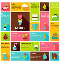 Flat Design Icons Infographic Garden Nature vector image