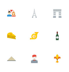 Flat icons trombone tower alcohol and other vector