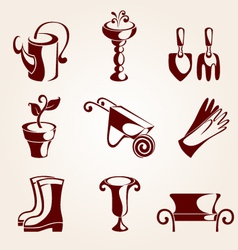 gardening elements set vector image
