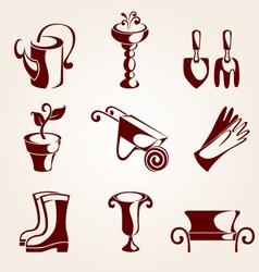 gardening elements set vector image vector image