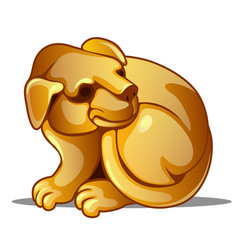 golden figure of dog chinese horoscope symbol vector image