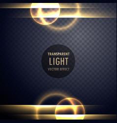 Golden light lens effect transparent background vector