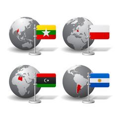 Gray earth globes with designation myanmar vector