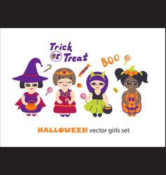 Halloween clipart set with kids in costumes vector