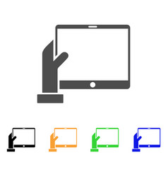 Hand holds pda icon vector