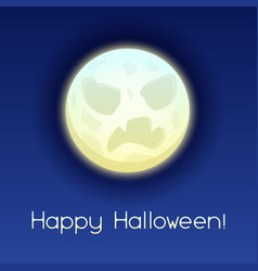 happy halloween angry moon vector image