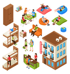 Hostel isometric icons set vector