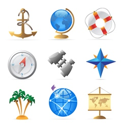 Icons for sea travel vector image