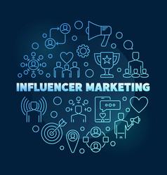 influencer marketing circular blue outline vector image