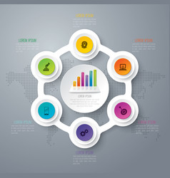 Infographics design with 6 options vector
