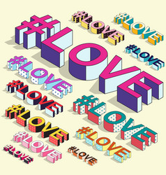 isometric hashtag - love internet blogging vector image