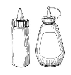 ketchup mustard or mayonnaise sauce bottle vector image