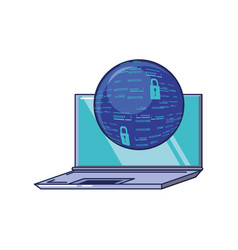 laptop computer with sphere browser vector image