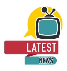 latest news press media logo with speech bubble vector image