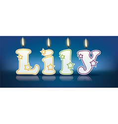 LILY written with burning candles vector