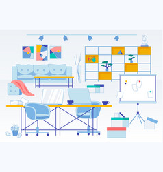Messy and dirt workplace flat office interior vector