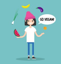 Modern lifestyle go vegan young character vector