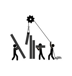 Monochrome pictogram with construction workers vector