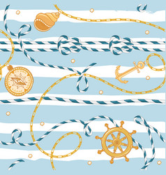 Nautical seamless pattern marine rope knots chains vector