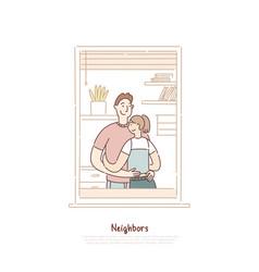 neighbors in window frame couple hugging man vector image