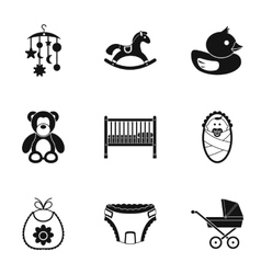 Newborn icons set simple style vector image