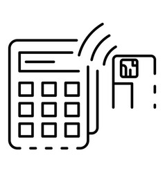 Nfc terminal card payment icon outline style vector