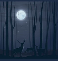 night scene with a forest moon and deers vector image