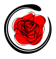 Ouroboros serpent curled up around red rose vector