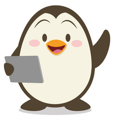 Penguin with tablet vector