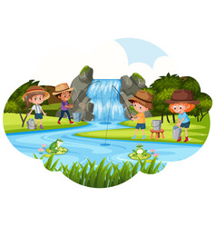 People fishing next to waterfall vector