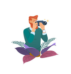 Photographer taking photo with digital camera vector