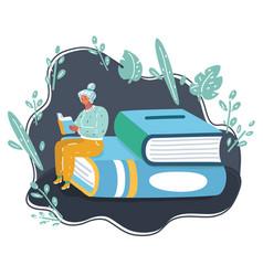 pretty girl reading a book vector image