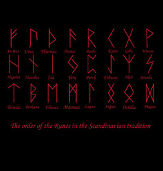 Red rune metal runes vector