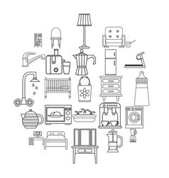 room icons set outline style vector image