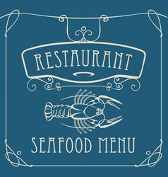 seafood restaurant menu with crayfish vector image