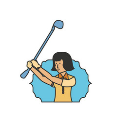 seal with golfer woman avatar character vector image